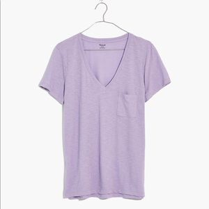Madewell Cotton Lilac V Neck Pocket Tee